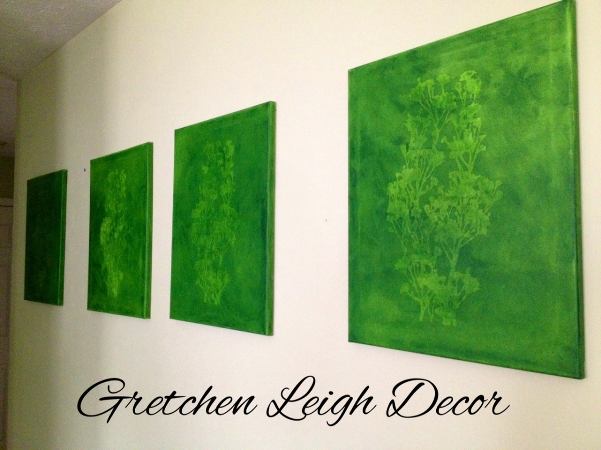Set of four Green Textured Paintings